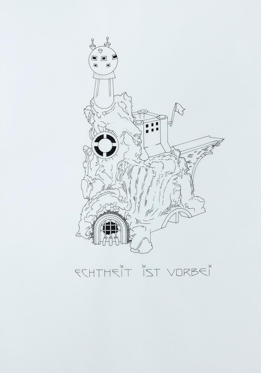 Lux Lindner. Echtheit ist vorbei. Ink on paper, 48,5 x 41,5 cm, 1999-2013